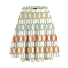 Lab Pattern Hexagon Multicolor High Waist Skirt by AnjaniArt