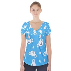 Blue Koala Short Sleeve Front Detail Top by Jojostore