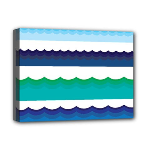 Water Border Water Waves Ocean Sea Deluxe Canvas 16  X 12   by Amaryn4rt
