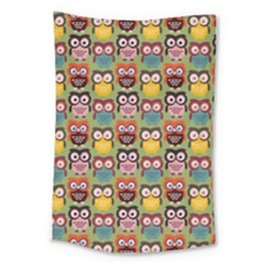 Eye Owl Colorful Cute Animals Bird Copy Large Tapestry by Jojostore
