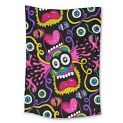 Monster Face Mask Patten Cartoons Large Tapestry by Jojostore