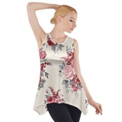 Rose Beauty Flora Side Drop Tank Tunic by Jojostore