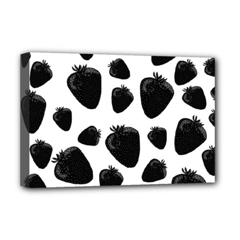 Black Strawberries Pattern Deluxe Canvas 18  X 12   by Valentinaart