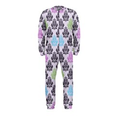 Damask Small Flower Purple Green Blue Black Floral Onepiece Jumpsuit (kids) by AnjaniArt