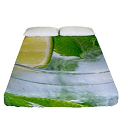 Cold Drink Lime Drink Cocktail Fitted Sheet (queen Size)