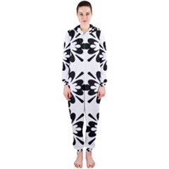 Floral Illustration Black And White Hooded Jumpsuit (ladies)