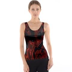Fractal Red Black Glossy Pattern Decorative Tank Top