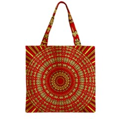 Gold And Red Mandala Grocery Tote Bag