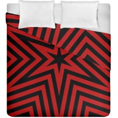 Star Red Kaleidoscope Pattern Duvet Cover Double Side (king Size) by Amaryn4rt