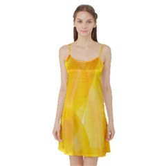 Yellow Pattern Painting Satin Night Slip by Amaryn4rt