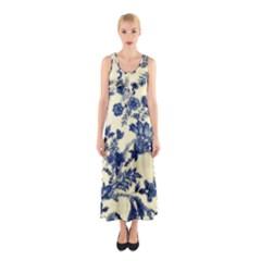 Vintage Blue Drawings On Fabric Sleeveless Maxi Dress