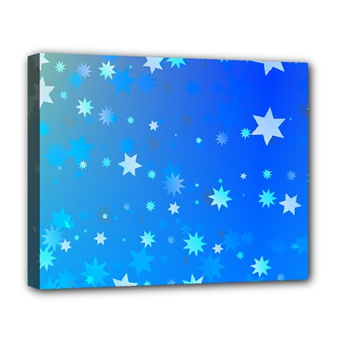 Blue Hot Pattern Blue Star Background Deluxe Canvas 20  X 16   by Amaryn4rt