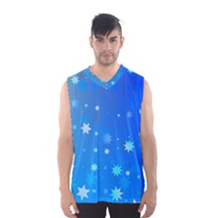 Blue Hot Pattern Blue Star Background Men s Basketball Tank Top by Amaryn4rt