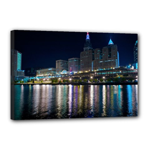 Cleveland Building City By Night Canvas 18  X 12  by Amaryn4rt