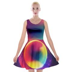 Colorful Glowing Velvet Skater Dress