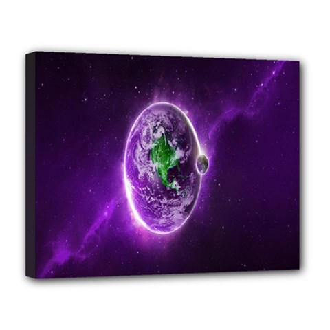 Purple Space Planet Earth Canvas 14  X 11  by AnjaniArt