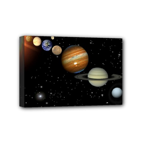 Outer Space Planets Solar System Mini Canvas 6  X 4  by Onesevenart