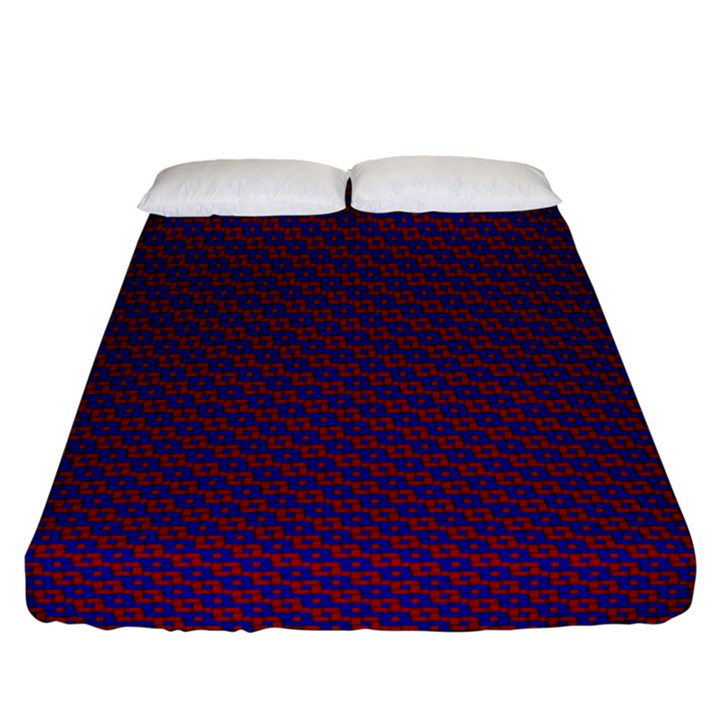 Chain Blue Red Woven Fabric Fitted Sheet (California King Size)
