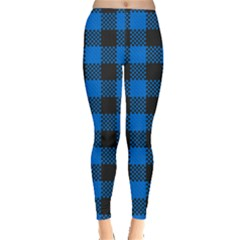 Black Blue Check Woven Fabric Leggings  by AnjaniArt