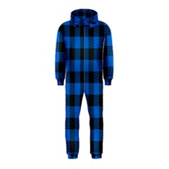 Black Blue Check Woven Fabric Hooded Jumpsuit (kids) by AnjaniArt