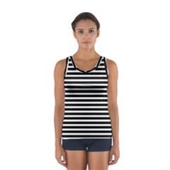 Horizontal Stripes Black Women s Sport Tank Top