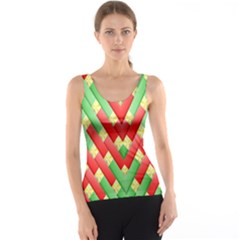 Christmas Geometric 3d Design Tank Top by Amaryn4rt