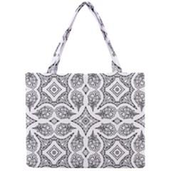 Mandala Line Art Black And White Mini Tote Bag
