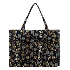 Clipart Chromatic Floral Gold Flower Medium Tote Bag by Jojostore