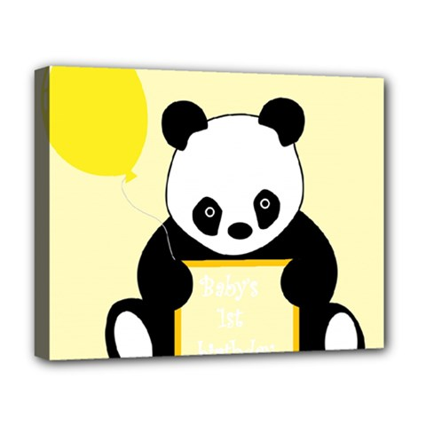 First Birthday Panda Card Deluxe Canvas 20  x 16   by Nexatart