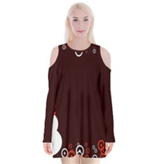 Snowman Holidays, Occasions, Christmas Velvet Long Sleeve Shoulder Cutout Dress