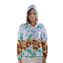 Broken Tile Texture Background Hooded Wind Breaker (Women) by Nexatart