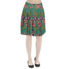 Flowers Pattern Pleated Skirt by Nexatart