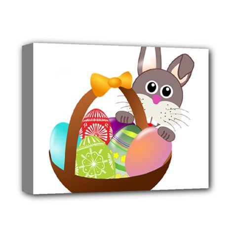 Easter Bunny Eggs Nest Basket Deluxe Canvas 14  x 11  by Nexatart