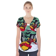 Monster Short Sleeve Front Detail Top by Nexatart