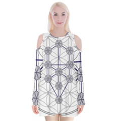 Tree Of Life Flower Of Life Stage Velvet Long Sleeve Shoulder Cutout Dress