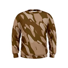 Background For Scrapbooking Or Other Beige And Brown Camouflage Patterns Kids  Sweatshirt by Nexatart