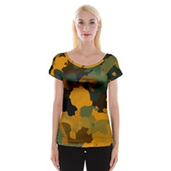 Background For Scrapbooking Or Other Camouflage Patterns Orange And Green Women s Cap Sleeve Top by Nexatart