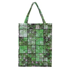 Background Of Green Squares Classic Tote Bag by Nexatart
