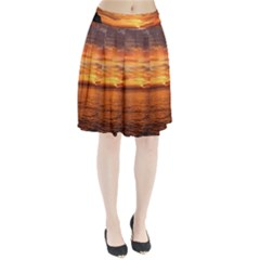 Sunset Sea Afterglow Boot Pleated Skirt by Nexatart