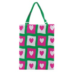 Pink Hearts Valentine Love Checks Classic Tote Bag by Nexatart