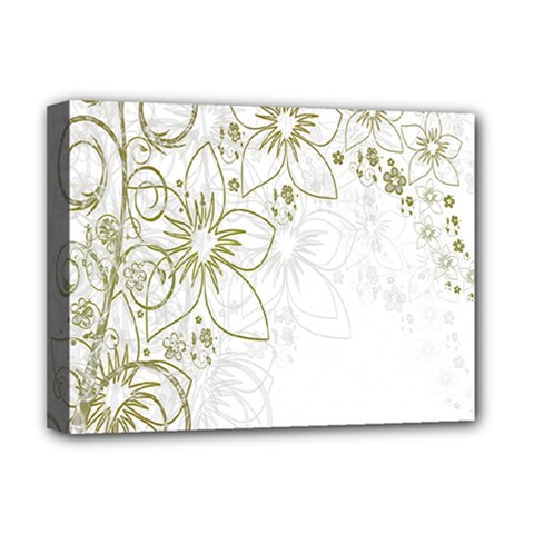 Flowers Background Leaf Leaves Deluxe Canvas 16  X 12   by Nexatart