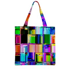 Glitch Art Abstract Zipper Grocery Tote Bag by Nexatart