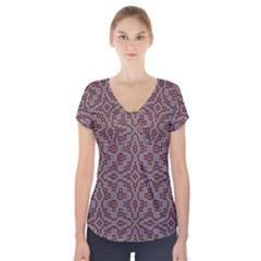Simple Indian Design Wallpaper Batik Short Sleeve Front Detail Top by Jojostore