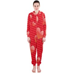 Red Hearts Hooded Jumpsuit (ladies)