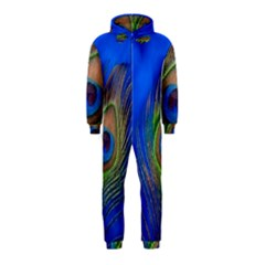 Blue Peacock Feather Hooded Jumpsuit (kids) by Amaryn4rt