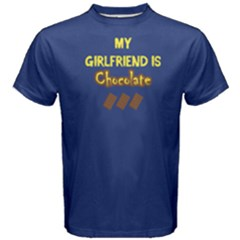 Blue My Girlfriend Is Chocolate  Men s Cotton Tee by FunnySaying