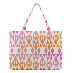Geometric Abstract Orange Purple Pattern Medium Tote Bag by Nexatart