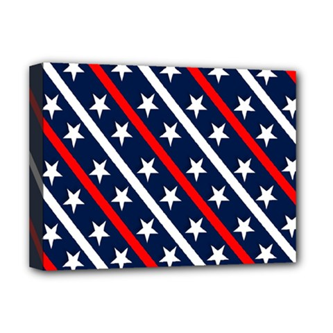 Patriotic Red White Blue Stars Deluxe Canvas 16  X 12   by Nexatart