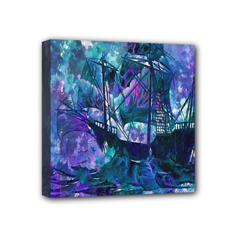 Abstract Ship Water Scape Ocean Mini Canvas 4  x 4  by Nexatart