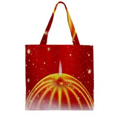 Advent Candle Star Christmas Zipper Grocery Tote Bag by Nexatart